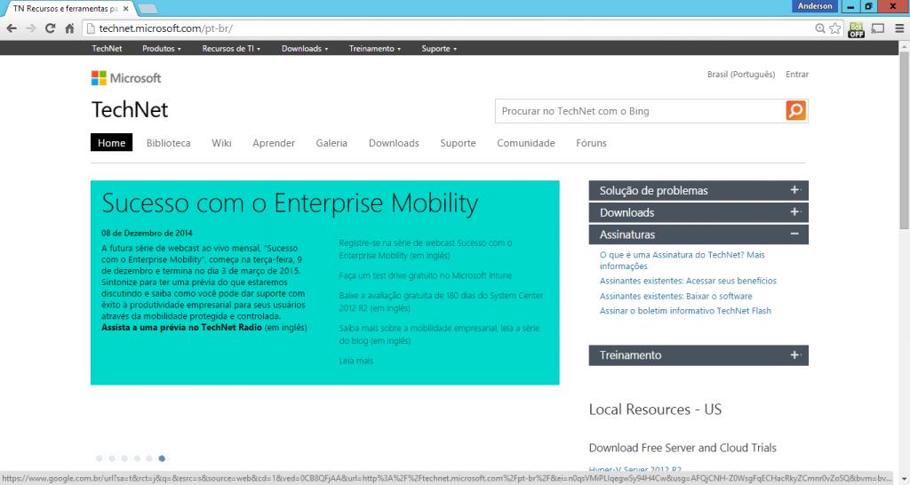 Figura 24- Página inicial do site www.technet.microsoft.com