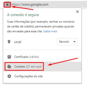 como bloquear cookies de um site