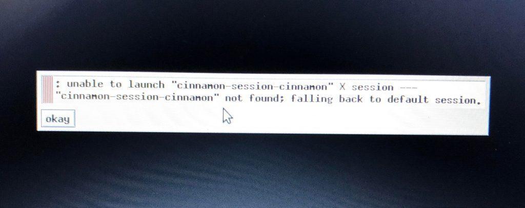 Cinnamon não carrega como resolver erro session cinnamin not found