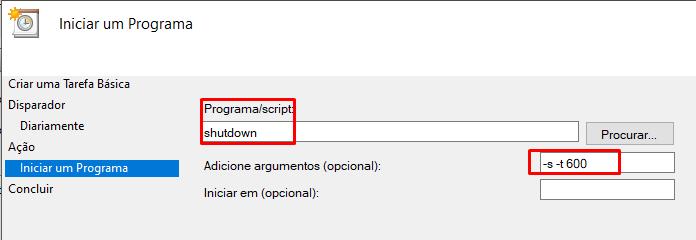 configurar desligamento automático no Windows